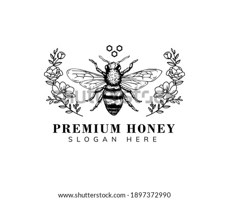 honey bee with hand drawn style for logo and other