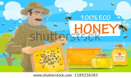 Honey beekeeper in protective outfit holding honeycomb in hands. Jars of natural honey and flying bees vector. Beemaster or beekeeper at apiary taking honey, leaflet for beekeeping farm theme
