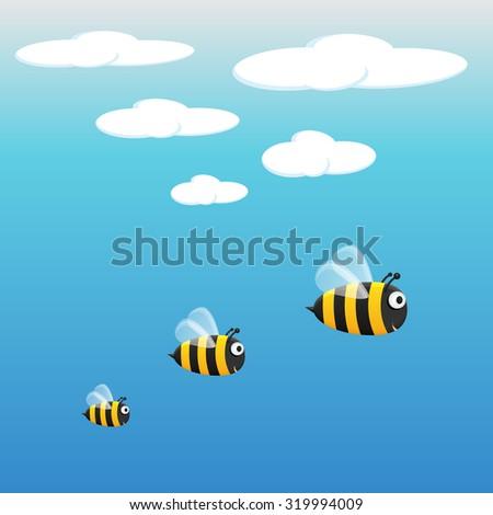 honey bees bumble bees three