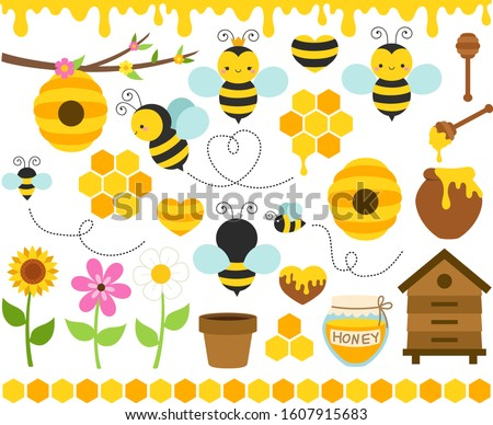 Honey Bees Vector Set. Cute bee cartoon collection. Funny illustrations, flat style icons. Beekeeping clip art, bright colorful graphic elements. Queen bee, beehives, borders, flowers, honeycombs.
