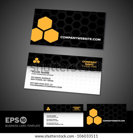 Honey comb science business card template with light textured front