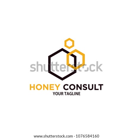honey consulting logo design template, hexagonal consult logo, polygon logo design