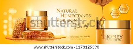 Honey cream jar banner with honeycombs and pure honey in 3d illustration