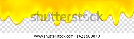 Honey drip. Golden syrup, caramel, jam, liquid oil. Yellow paint. Dripping pineapple, lemon, orange, mango jelly. Vector juice background.