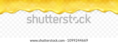 Honey drip seamless pattern isolated on transparent background. Golden butter, caramel, orange confectionery syrup. Vector melted bee honey or cream border template.