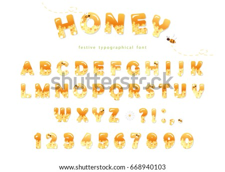 Honey font design. Glossy sweet ABC letters and numbers isolated on white.