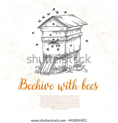 Honey from beehive, wooden hive, illustration in a sketch style,, background on the topic of honey, a swarm of bees at work
