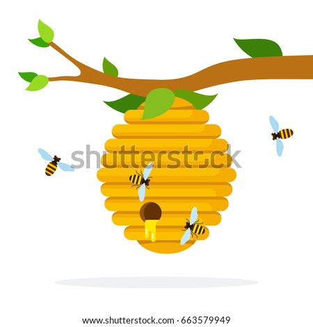 Honey hive with bees hanging on a branch vector flat material design isolated on white