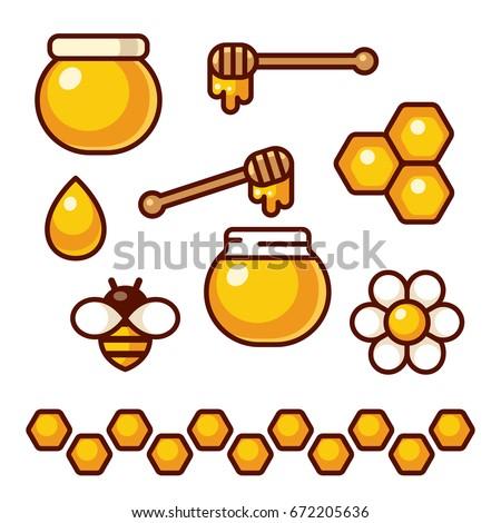 Honey icon set. Bee and flower, honey jar and spoon. Cartoon vector clip art illustration.