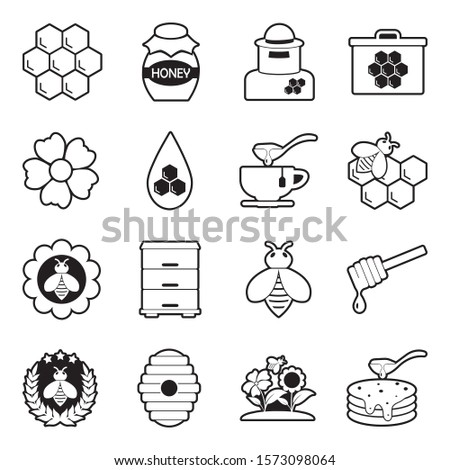 Honey Icons. Line With Fill Design. Vector Illustration. Сток-фото ©