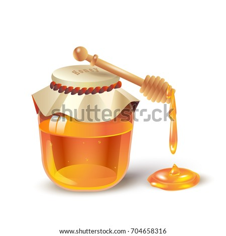 Honey jar with honey dripping from wooden honey dipper isolated on white background. Honey splash, fresh healthy food. 3D realistic Vector. Traditional sweet dessert for Rosh Hashanah, Jewish New Year