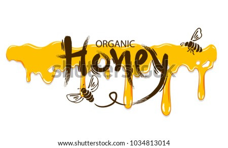 Honey label isolated on white background.Vector iilustration.