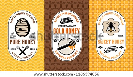 Honey labels, logo and packaging design templates for apiary and beekeeping  products, branding and identity. Vector honey illustration and patterns.