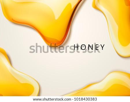 Honey liquid texture, golden honey in 3d illustration for design uses
