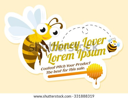 Honey lover label with bees, advertisement, vector illustration.