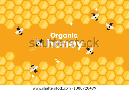 Honey or beekeeping product poster design of bees swarm on honeycomb background. Vector flat honey bee in hive honeycomb for beekeeper and organic natural apiary production industry