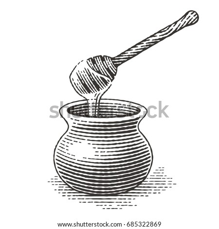 Honey pot. Hand drawn engraving style illustrations.