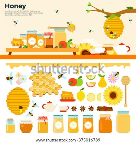 Honey products vector flat illustrations. Honey in jars and other honey products on the table. Organic and natural honey. Banks of honey, bees, honeycombs, bee hives, sunflower isolated on white
