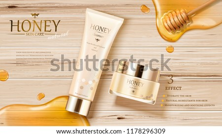 honey skin care ads with golden