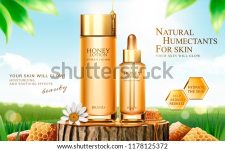 Honey skincare ads on cut tree trunk with honeycomb in 3d illustration, bokeh green field background #1178125372