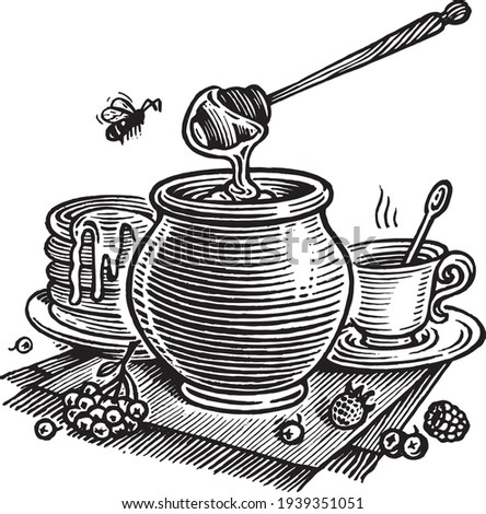 Honey still life, vector illustration. Vintage graphics and handwork. The а pot of honey, a bee, a cup of tea, pancakes and berries A collection of farm products. Сток-фото ©
