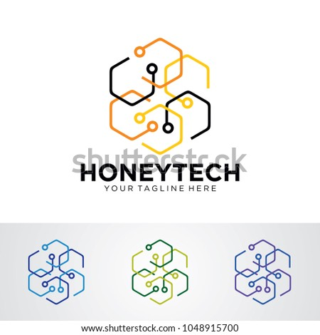 Honey Tech Logo Template Design Vector, Emblem, Design Concept, Creative Symbol, Icon