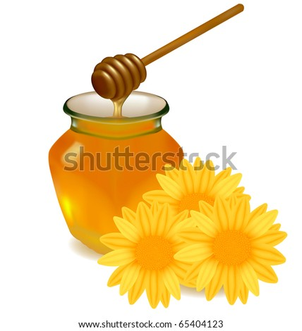 honey with wood stick and