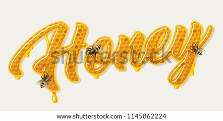 Honey word with honeycomb lettering. Vector illustration
