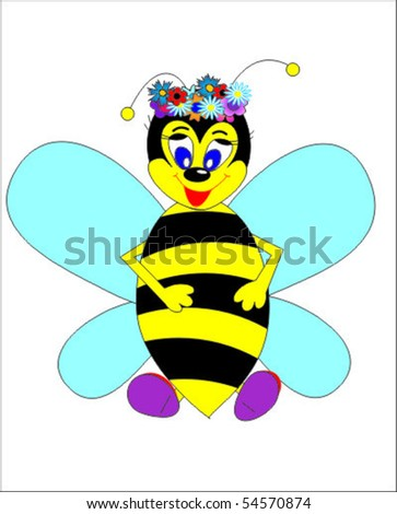 honeybee with garland