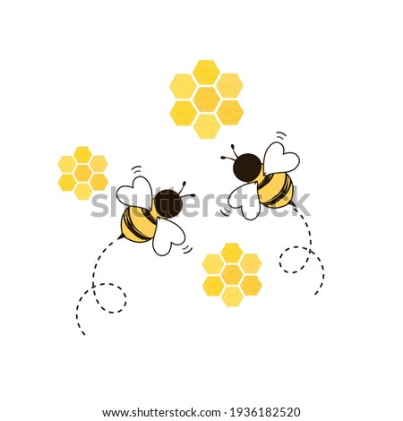 Honeycomb beehive with hexagon grid cells and bee cartoon logo on white background vector illustration.