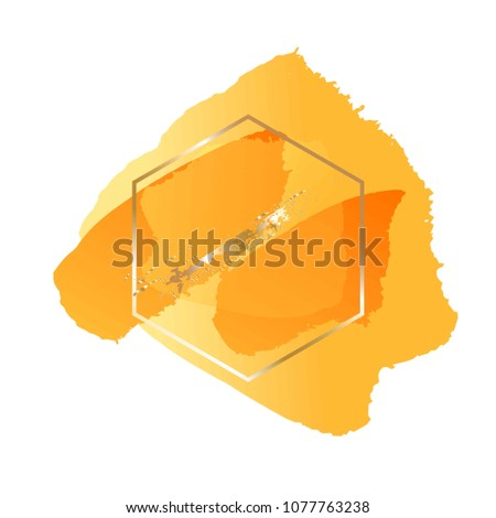 Honeycomb. Brush strokes yellow and orange tones and gold hexagonal frame.