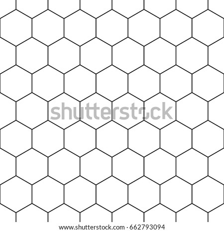Honeycomb wallpaper. Repeated white interlocking polygons tessellation on black background. Seamless surface pattern design with regular hexagons. Grid motif. Digital paper for web designing. Vector.