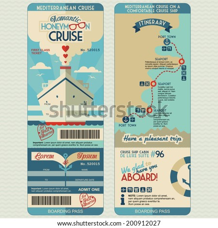 Honeymoon cruise boarding pass for just married. Flat graphic design template, face and back side