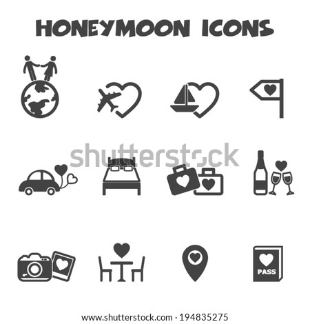 honeymoon icons  mono vector