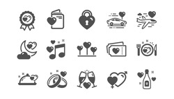 Honeymoon icons set. Marriage rings, wedding car, love. Bridal champagne, Valentine heart icons. Couple tickets, honeymoon travel, married night. Wedding music, love lock. Quality set. Vector