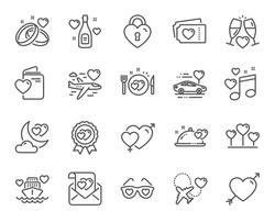 Honeymoon line icons. Wedding car, marriage rings, love. Bridal champagne, Valentine heart icons. Couple tickets, honeymoon travel, married night. Wedding music, love lock. Vector
