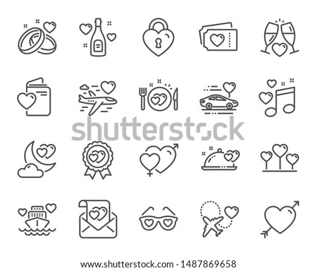 honeymoon line icons wedding