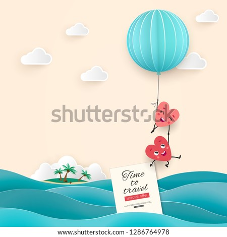 Honeymoon trip to the sea, the inscription Time to travel, A pair of lovers in the shape of animated hearts fly over the waves in a balloon, Paper cut vector illustration