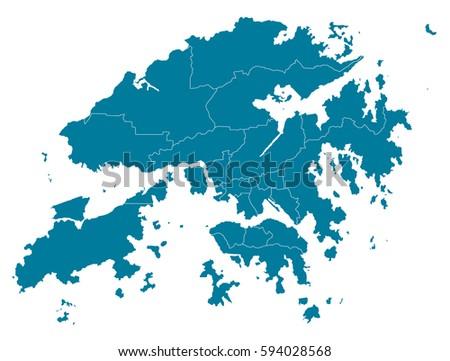 hong Kong blue map vector