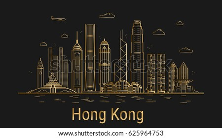 Hong Kong city line art, golden architecture vector illustration, skyline city, all famous buildings.
