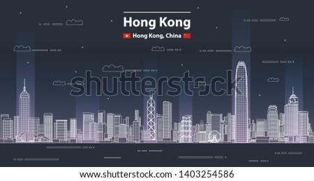 hong kong cityscape line art