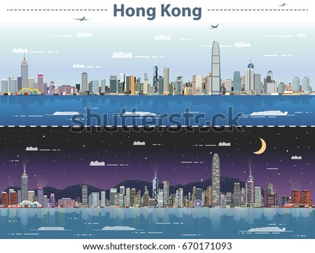 hong kong day and night vector