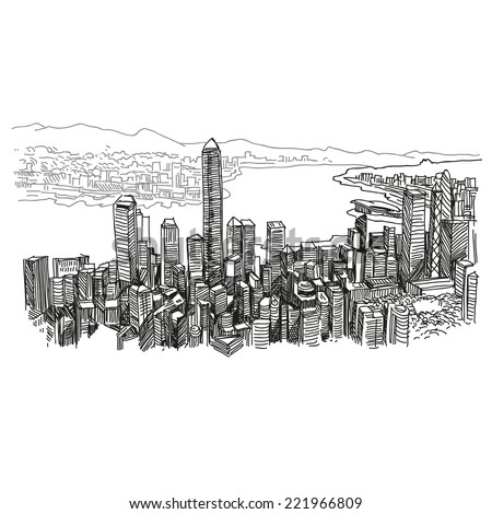 hong kong hand drawn  vector