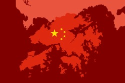 Hong Kong is integrated into mainland China. Hongkong as part of Chinese One state. Unification and reunification of Asian country. Vector illustration