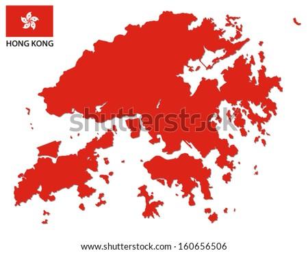 hong kong map and flag