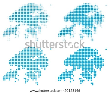 Hong Kong map mosaic set. Isolated on white background. - stock vector