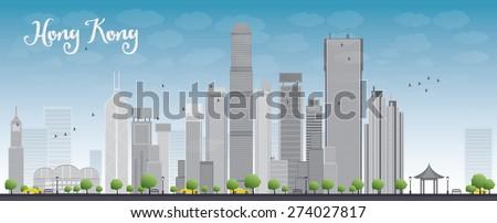 hong kong skyline with blue sky