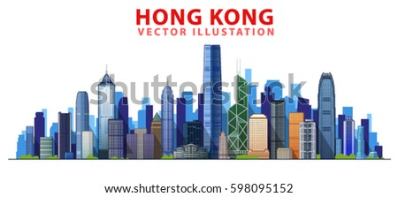 hong kong skyline with panorama