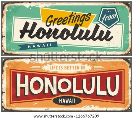 Honolulu Hawaii tin sign souvenir card idea. Greetings from Honolulu unique retro post card design. Travel destinations.