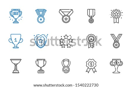 honor icons set. Collection of honor with trophy, medal, best, shield, badge. Editable and scalable honor icons.